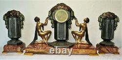 Magnificent Pendulum Topping Signed G. Limousin Art Deco French Clock