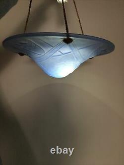 Magnificent Vasque Plafonnier Art Deco Signed Degué Glass Blue Geometric Lustre