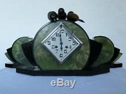 Marble Onyx Clock Mantelpiece Deco Bronzes Signed Art