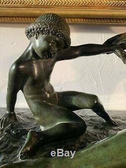 Marcel Bouraine 1886-1948 Large Bronze Art Deco Has Green Patina