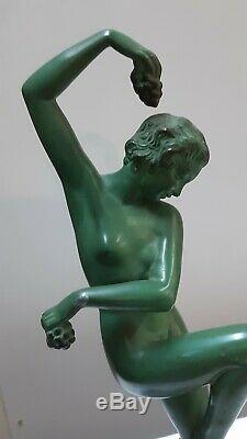 Max Le Verrier Sculpture Naked Woman Harvest Art Deco Sign Denis