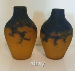 Muller Brothers Lunéville Pair Of Vase In Glass Paste 19 Cm, Art Deco Signed