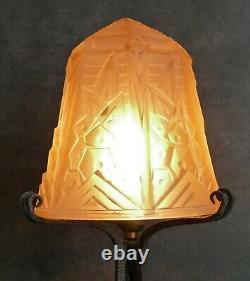 Muller Red Art Deco Lamp Wrought Shells Signed Glass Pressed Color 1930