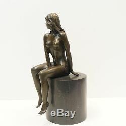 Naked Nymph Statue Art Deco Style Art Nouveau Bronze Massive Sign