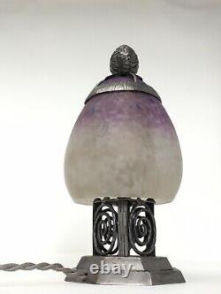 Night Light Art Deco Iron Forged Tulip Glass Pasta Signed Schneider