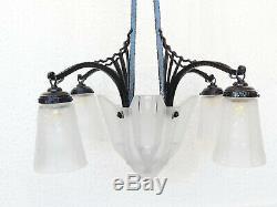 Old Chandelier Art Deco Signed Muller Freres Luneville Molded Pressed Glass