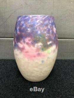 Old Glass Vase Pate Signed Muller Freres Luneville Art Deco Lunéville