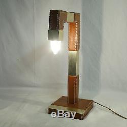 Old Lamp Le Tanneur Saddle Leather Signed Desk Lamp Tischlampe Design Adnet