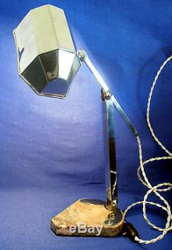Old Office Lamp Base Marble Time Art Deco Signed French Craft