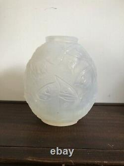 Opalescent Glass Vase Decorated With Night Butterflies Signed Verlys Art Deco