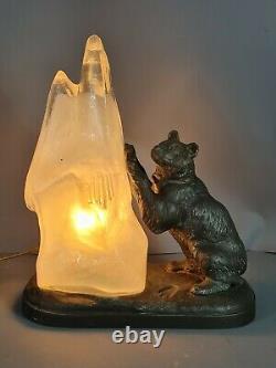 Original Art Deco Lamp Bear Against A Glass Iceberg, Signed T. Cartier Sb