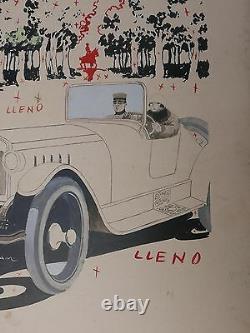 Original Design Aristides Rechain Couple Car Car 1920 Argentina