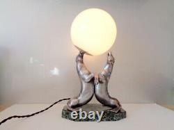 Otarie Lamp By Carvin Regulates Silver On Marble Art Deco Period Signed Superb