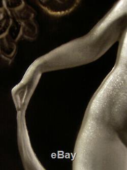 P. Davesn Night Lamp Art Deco Glass Molded Signed Bronze & Nickel 1930