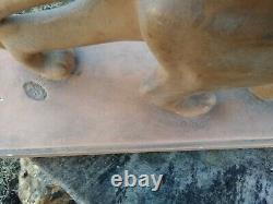Painted Plaster Panther Statue Signed E. P. S. Melani Art Deco