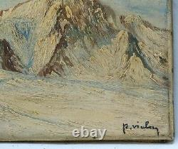 Painting, Ancient Oil Painting On Canvas Xixth Signed, Landscape, Mountain, Winter