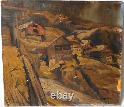 Painting Ancient Oil Signed, Landscape, Mountain, Chalet