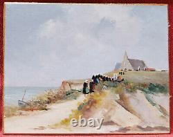 Painting Breton Landscape Bretagne Scene Pardon Oil 20s Art Deco Church