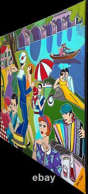 Painting Kris Milvy Guinguette Danse Bord Marne 80x80 CM Artiste Cote Droot