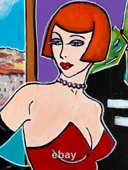 Painting Kris Milvy La Danseuse À Marseille Marin 40x40cm Artiste Cote Drouot