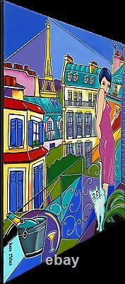 Painting Painting Kris Milvy Art Deco Balcony In Paris Eiffel Tower 54 X 73 CM