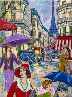 Painting Painting Kris Milvy Art Deco Rainy Day In Paris 54 X 73 CM