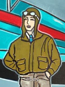 Painting Painting Kris Milvy Art Deco The Aviation Aviators 80 X 80 CM