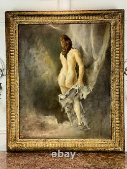 Painting / Painting / Oil On Canvas / Nude Woman Signed F. Cacan 1880 / 1979