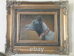 Painting Portrait Of Dog Oil On Canvas Baroque Frame Signed
