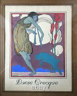 Painting Superb Stencil Stencil Art Deco 1930 Greek Dance By J. Roberts - Frame