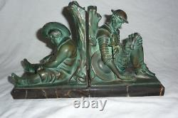 Pair Of Art Deco Bookends Don Quixote Signed Jante
