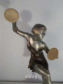 Pair Of Art Deco Sculpture Chryselephantine 1930 Limousin Statue Woman Dancer