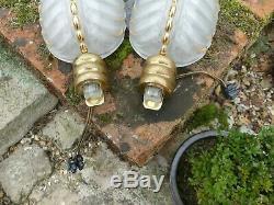 Pair Of Art-deco Wall Ezan Signed Mold Glass Mount Bronze Gold