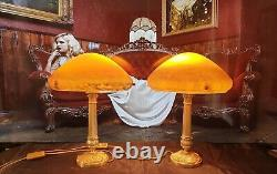 Pair Of Lamps Art Deco Art New Moulded Glass Signed Vianne (bronzelaiton)