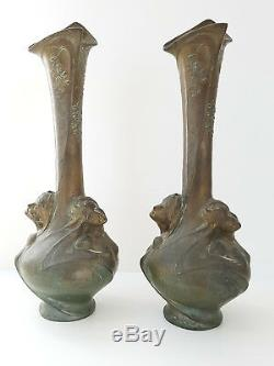 Pair Of Large Vases Art Nouveau Bronze Helene Sibeud Signs Melle Sibeud 1900
