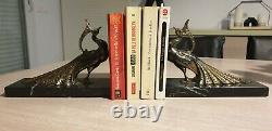 Pair Of Serre-livres Paon Signed Ted. Art Deco. Animal Food. Black Marble. Rare