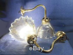Pair Of Wall Art Deco Tulips Glass Signed Holophane Brass Swan Neck