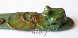 Paper Knife + Ashtray Bronze Signed Rischmann 1930 Frog Fog Art Deco