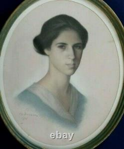 Pastel Portrait 1935 By Ch Perrin Young Woman