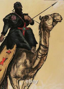 Paul Élie Dubois Watercolor Drawing Gouache Orientalist Painting Algeria Hoggar
