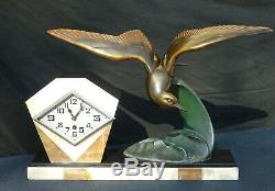 Pendulum Art Deco Marble And Status Regulates Signed I. Rochard