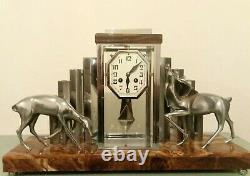 Pendulum Clock Michel Decoux Art Deco Onyx And Chrome Bronze Signed