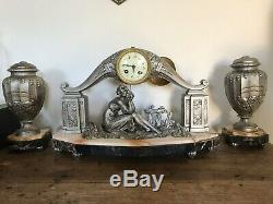 Pendulum Clock Signed Art Deco Silver French Clock Limousin 1925 Christmas Gift