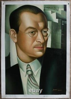 Portrait Art Deco Painting Oil Painting On Canvas Signed
