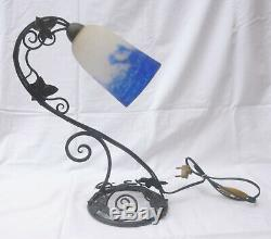 Pretty Lamp Table Wrought Iron Art Deco Signed Tulip