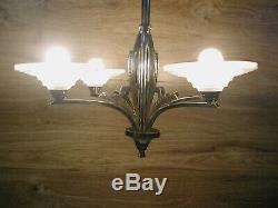 Pretty Modernist Art Deco Chandelier 4 Lights Chrome Plated Brass Signed Bev 609