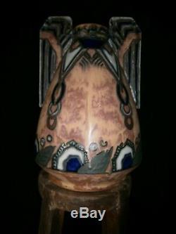 Rare Art Deco Quimper Hb Cylindrical Vase Signed Renaud