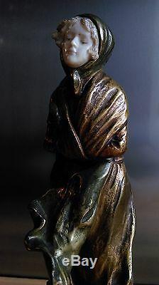 Rare Bronze Sculpture By Dominique Alonzo Cicada Signed Around 1910-20