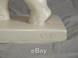 Rare Elephant And Cornac Signed Stef. Ceramic Cracked 30. Art Deco