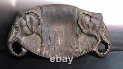 Rare Empty Art Deco Bronze Pocket Decorated With Elephant Heads By Duval